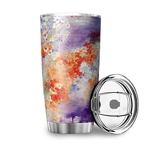 Taza con tapa multicolor con diseño de margaritas y flores, de acero inoxidable, con diseño 3D, a prueba de fugas, con tapa aislante, color blanco, 600 ml