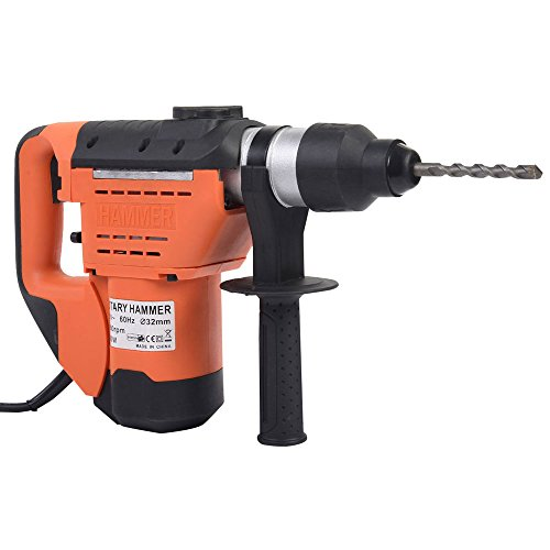 1-1/2 Inch SDS Rotary Hammer Drill Includes Demolition Bits, Flat and Point Chisels Electric Hammer Drill Set