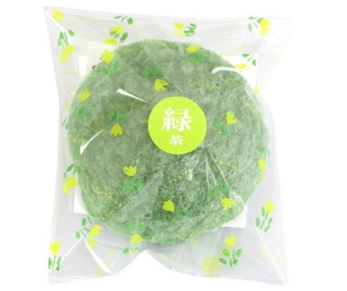 山本農場 こんにゃくパフ 和の力 緑茶 N-10 洗顔 直径約65×高さ28mm