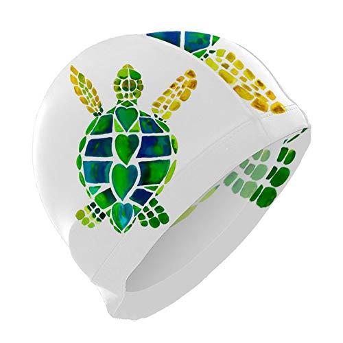 Gorro de natación para hombres y mujeres, unisex, elástico, para pelo largo, corto, talla única, diseño de tortuga de mar, corazón verde