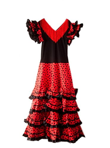 La SENO Rita espagnol Flamenco Robe/Costume - pour Femmes/Enfant - Noir/Rouge - 38-40, 120 cm(XL)