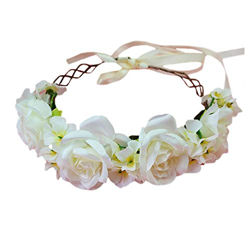 Rose Flower Crown Boho Flower Headband Hair Wreath Floral Headpiece Halo with Ribbon Wedding Party Festival Photos Beige by Vivivalue
