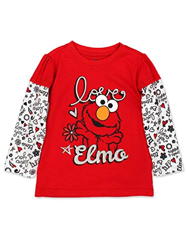 Sesame Street Elmo Girls Long Sleeve Tee (18 Months, Red)