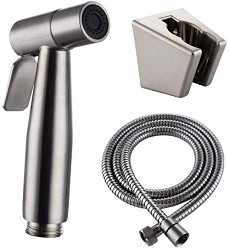 ZLININ Y-Longhair Set for Mascotas Baño Closestool Eyacular Pan Limpieza del Piso - 304 Acero Inoxidable WC Lavadora Arma de Aerosol presurizado Grifo Flushing Boquilla