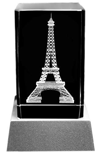 Kaltner Präsente Stimmungslicht LED Kerze/Kristall Glasblock / 3D-Laser-Gravur Frankreich Paris Eiffelturm