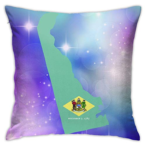 v-kook-v Delaware State Shaped Flag Decorative Square Throw Pillow Covers Cushion Case Pillowcases 18 X 18 Inch