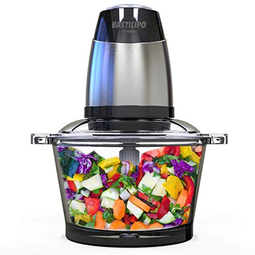 Bastilipo PE-350 Picadora electrica de alimentos de 350w y capacidad de 1,2l, 1.2 litros, Negro