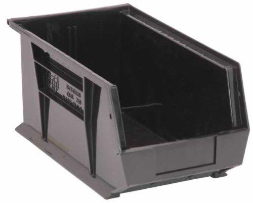 Quantum Storage K-QUS240BK-3 3-Pack Stack and Hang Plastic Bin Storage Containers 14 x 8 x 7 Black