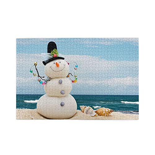 CZMCQM Pupazzo di neve con conchiglie seduti sulla spiaggia di sabbia Stampa 1000 pezzi di puzzle educativi per bambini adulti giochi per bambini giochi genitori-figlio giocattoli