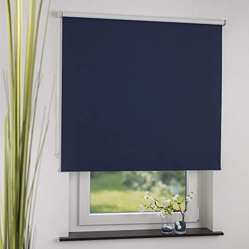 Cocoon Kettenzugrollo Seitenzugrollo Verdunkelungsrollo Rollo Thermo Vorhang Dunkelblau, Blau 80 x 190 cm
