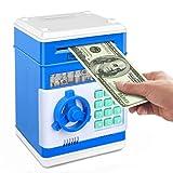 N / B Stibre Piggy Bank, elettronico Atms Password Moneta in Contanti può Auto Rotolo di Carta Scatola di Risparmio di Denaro Regalo Giocattolo per Bambini -Blue