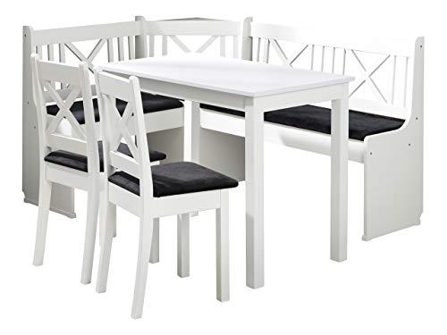 Eckbankgruppe Ixi 1, Küchensitzgruppe aus Erlenholz, Eckbank Gruppe besteht aus Kücheneckbank mit 2 Kästen, 2x Hocker, Tisch, Esszimmer, Sitzbank (Holzfarbe: Weiß, Stofffarbe: Amor Velvet 4322)