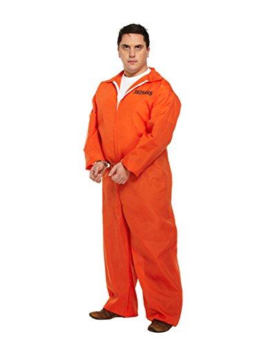 FANCY DRESS ADULT PRISONER OVERALL ORANGE XL SIZE by Henbrandt