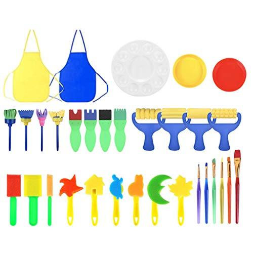 MYhose Kid Malpinsel Schwamm Zeichenwerkzeuge für wasserdichte Acrylkunst 32 Stück Farbe zufällig