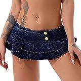 Zaldita Falda de mezclilla casual de talle bajo para mujer, pantalones vaqueros con volantes, mini falda corta, azul, 40