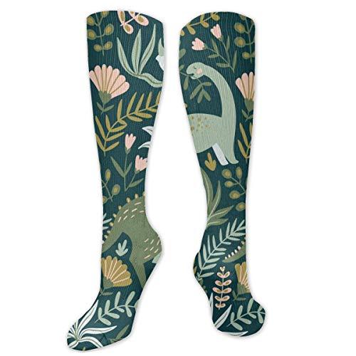 Regalo de Navidad calcetín dibujado a mano patrón sin costuras con dinosaurios y hojas tropicales y flores tamaño 50cm