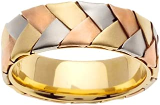 14k Tri Color Gold Mens Comfort-Fit Hand Braided Ring (7mm)