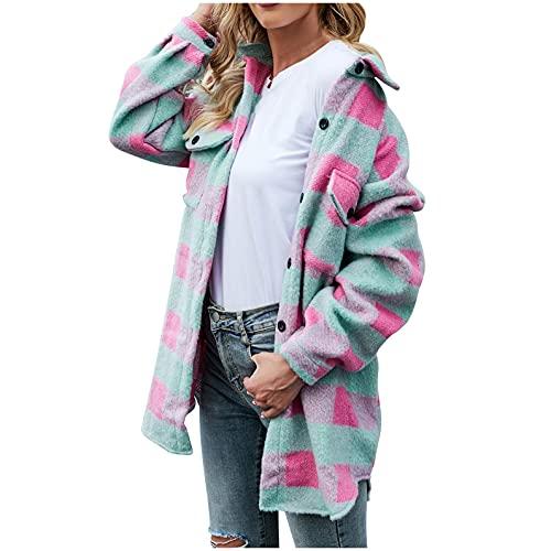 Camisa de franela a cuadros para mujer, blusa de manga larga, informal, botones a cuadros, chaqueta de entretiempo grande con bolsillos, Y2K, moda E-Girl, ropa para amigos, top BTS, tallas XS - L