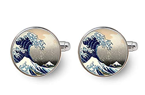 Hokusai Cufflinks,Great Wave Cufflinks, Japanese Art Cufflinks, Dome Glass Ornaments, Gifts for him