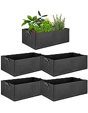 ValueHall Stof Verhoogd Tuinbed 5 Stuks Herbruikbaar Rechthoek Grow Bag Met Handvat Ademend Non-Woven Rechthoek Kweekzak Voor Planten Bloemen Groenten Aardappelen V8020A (M)