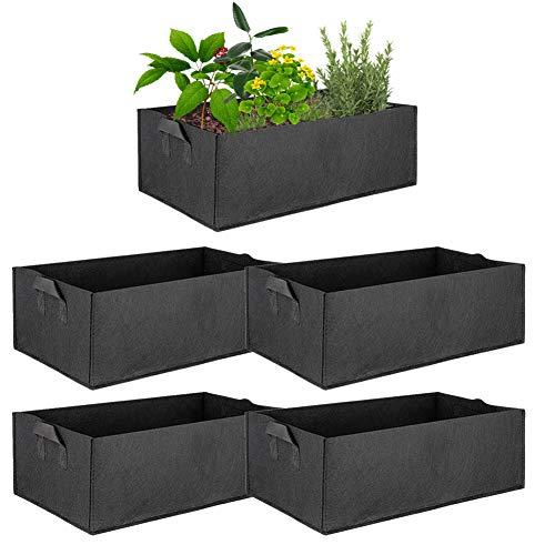 ValueHall Bolsas de Cultivo 5 Paquetes Bolsa de plantación Rectangular Exterior de Jardín Rectángulo Contenedor de plantación para Cosechando Cultivando Vegetales V8020A (Large)