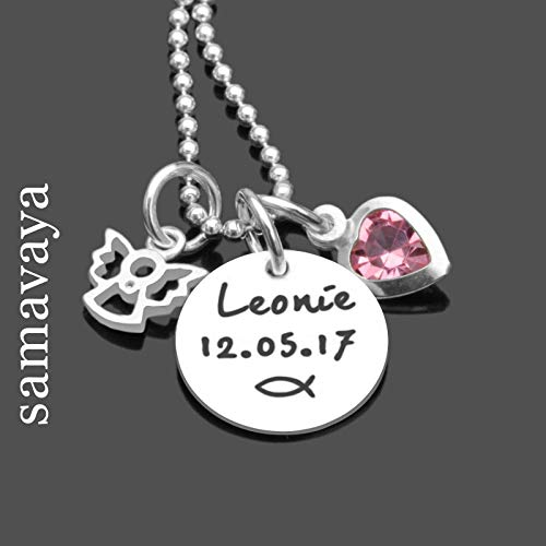 Taufkette Schutzengel mit Namensgravur MEINE TAUFE ENGEL 925 Silberkette mit Gravur Namenskette Kinderschmuck