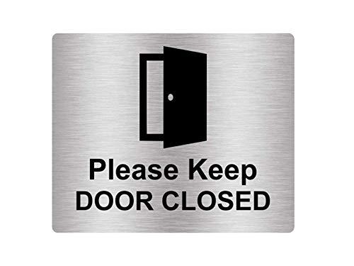 Adesivo con scritta'Please Keep Door Closed', in argento metallizzato inciso nero con simbolo icona universale e testo (dimensioni 12 cm x 10 cm)