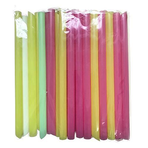 Jumbo Strohhalme für Smoothies, Bubble-Tea, verschiedene leuchtende Farben, 10 mm breit, 100 Stück