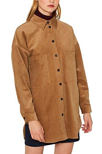 edc by ESPRIT Damen 099CC1F026 Bluse, Braun (Camel 230), Medium (Herstellergröße: M)