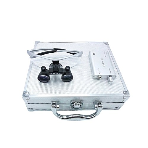 Zgood Portable Surgical Medical Binocular Loupes 2.5×420mm Optical Glasses with 3W LED Headlight Lamp + Aluminum Box (Silver)