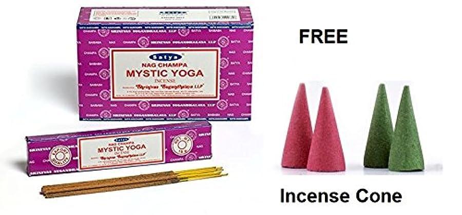 スリッパ式病なBuycrafty Satya Champa Mystic Yoga Incense Stick,180 Grams Box (15g x 12 Boxes) with 4 Free Incense Cone