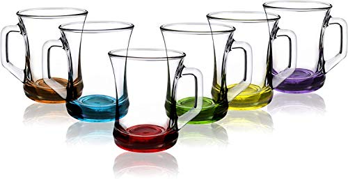 Lav - Juego de 6 tazas para bebidas calientes, base de color, té, café y café latte, capuchino, tazas de cristal (225 cc)
