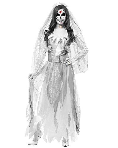 DianShao Geisterbraut Zombiekostüm Kostüm Halloweenkostüm Braut Karnevalskostüm Frauenkostüm Horror Damenkostüm Gothicbraut Grau M