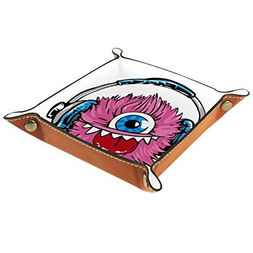Xingruyun Rosa einäugiges Monster Aufbewahrungsbox Faltbar Schmucktablett Schmuckschale Schmuckdisplay Halskette Ring Organizer 16x16cm