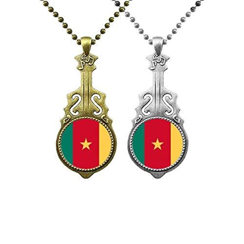 Halskettenanhänger mit Kamerun-Flagge, Afrika, Ländermusik, Gitarre, Schmuck