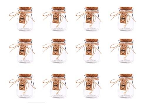 Set di 12 mini vasi di vetro con coperchi di sughero (7cm x 5cm)