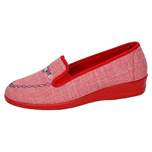MADE IN SPAIN 1004 Zapatillas Nevada Mujer Zapatillas CASA Rojo 38