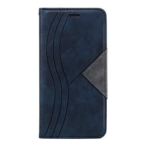 FNBK Étui de protection à rabat en cuir pour Samsung Galaxy S10 Plus Samsung Galaxy S10 Plus bleu