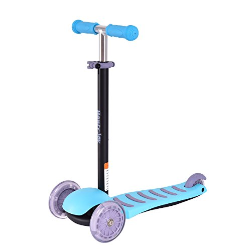 GOPLUS Mini-Roller Scooter Kinderscooter Kinderroller mit leuchtenden Räder, einstellbare Höhe, für Kinder 3-5 Jahre alt (Blau)