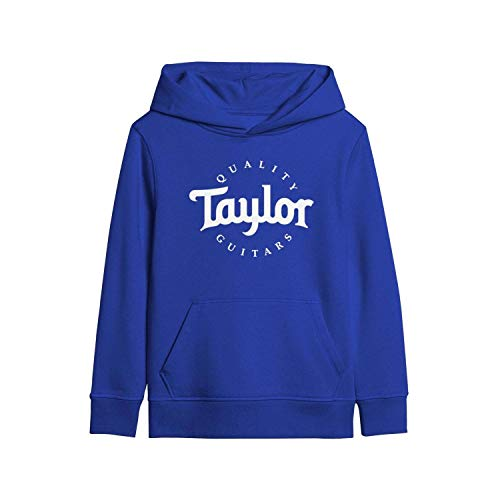 MNYAE Kids' Hooded Youth Sweatshirt Quality-Taylor-Guitars-Music-Mini-bass- with Pocket Blue Pullover Hoodies for Boys Girls