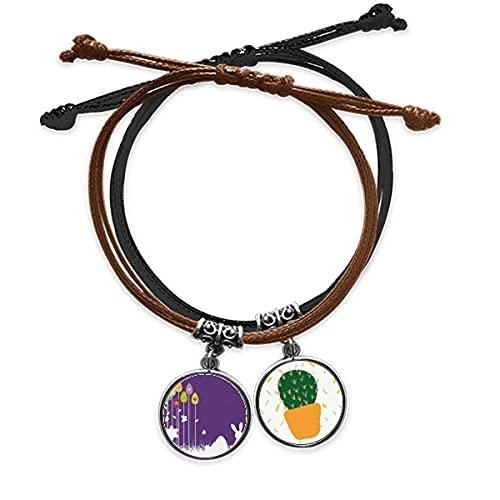 Festival de Pascua púrpura mariposa pulsera cuerda mano cadena cuero cactus pulsera