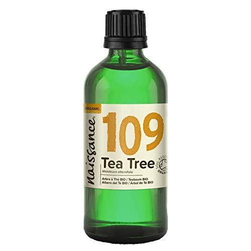 Naissance Olio Essenziale di Tea Tree (Albero del Tè) Biologico 100ml - Puro, Naturale, Cruelty Free, Vegan, Distillato a Vapore e Non Diluito - Usato in Aromaterapia, Massaggio e Diffusori