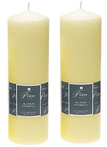 2 x Prices Ivory Altar Candle 250mm X 80mm 125 Hours Burn Time