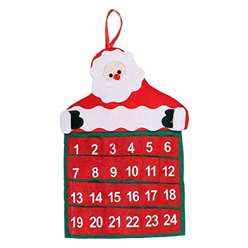 YuKeShop New Festival Hotel Lobby Decorations Family Pendant Christmas Advent Calendar Xmas Decor Non-Woven Fabric Santa Claus Countdown