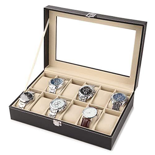 Cuero Reloj Caja Joyería caja del reloj de cajas de almacenaje con ventana Caja de reloj de cuero Negro Hombres de regalo de las mujeres manera del caso de exhibición de la joyería Titular regalo Caja
