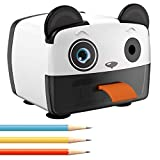 Electric Pencil Sharpener-Heavy Duty Helical Blade-Auto Stop Features For Kids, Students and Artists, Ideal for Home, School and Ofiice use, Cute, Yellow (Black&White)