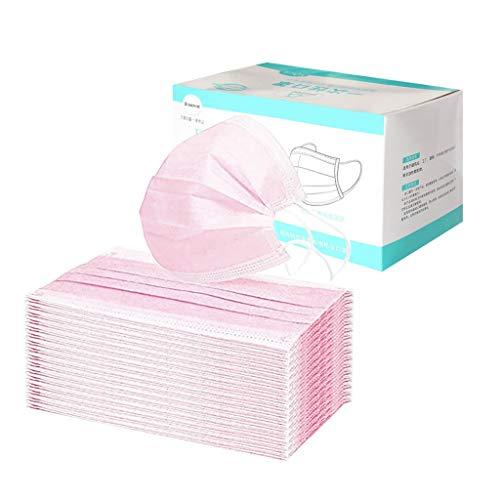 Beautynie 50 Stück Einmal-Mundschutz Rosa, Staubschutz Atmungsaktive Mundbedeckung, Erwachsene, Bandana Face Cover Sommerschal