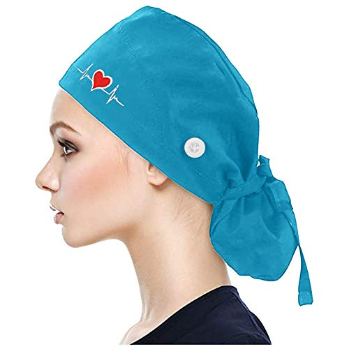 Xia&Han Working Cap with Buttons Bouffant Cotton Print Hat Sweatband Adjustable Hats for Womens and Mens Sky Blue