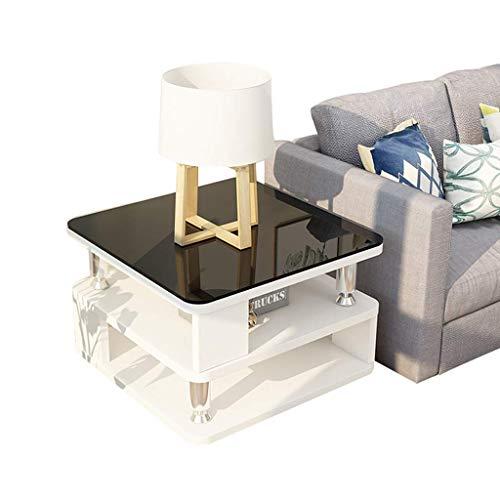 N/Z Living Equipment Mesa de Centro con diseño de Mesa Blanca Moderna de Alto Brillo para Muebles de Sala de Estar Mesa Auxiliar Cuadrada con mesas Nido con Ruedas (tamaño: 40 Veces; 40 Veces; 50 cm)