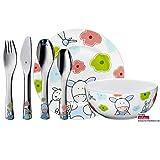 WMF Farmily - Vajilla para niños 6 piezas, incluye plato, cuenco y cubertería (tenedor, cuchillo de mesa, cuchara y cuchara pequeña) (WMF Kids infantil)